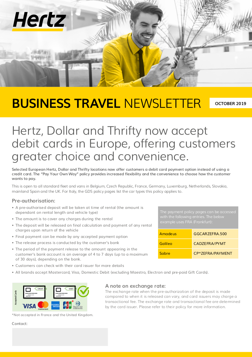 Oct 19 Business Travel Newsletter Debit Card English 1